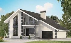 Two Story House Plans with mansard with garage under, the budget House Blueprints, European House Plans, New House Plans, Modern House Plans, Architectural Design House Plans, Modern Architecture House, Architecture Design, Roof Design, Exterior Design, 4 Bedroom House Designs