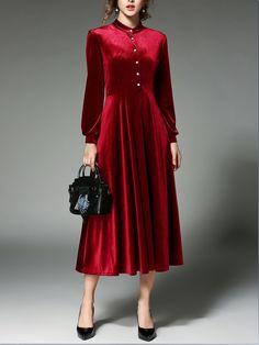 Buy Women's Aline Dress Stand Collar Long Bishop Sleeve Velvet Maxi Long Dress & Women's Dresses - at Jollychic Velvet Dress Designs, Red Black Dress, Dress Stand, Simple Dresses, Dress Patterns, Fashion Dresses, Women's Dresses, Vintage Dresses, Evening Dresses