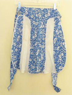 Vintage Blue and White Cotton Apron Feedsack by VintageGirlStuff, $9.50