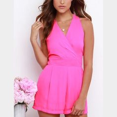 Hot pink flirty romper HOT pink romper with fabulous back, details in picture. NWOT. Perfect for summer sis sis Other