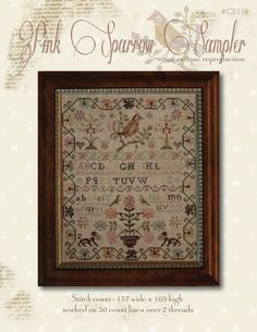 With thy Needle & Thread - Pink sparrow sampler - LE COMPTOIR DES FEES