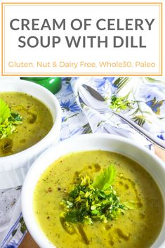 Vegan cream of celery soup with dill is the perfect spring dish. Garnished with a dill and celery salad this is an easy and quick recipe that has an elegant twist. This soup is gluten-free, paleo, AIP and compliant. Easy recipe for any weekn Celery Recipes, Low Carb Soup Recipes, Healthy Vegetable Recipes, Dairy Free Recipes, Lunch Recipes, Gluten Free, Keto Recipes, Yummy Recipes, Healthy Food
