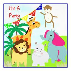 Cute Jungle Safari Animals Themed Party Invitation   A bright fun jungle safari picture with lion, elephant, hippo, giraffe and of course a cheeky monkey. These cute animals look all ready to party and make a fabulous invitation for any kids party, so easy to personalize with your details.