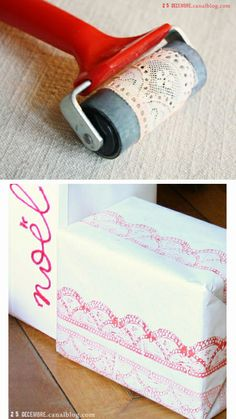 By Ann and Andrea. Affix a strip of lace to a roller. [Perhaps using spray adhesive?] Roll it on a stamp pad or on diluted acrylic paint then onto cardstock.