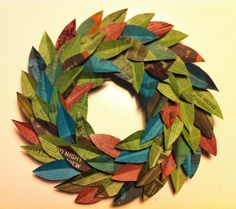 Rit dyed newspaper laurel wreath