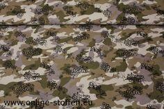 Gesatineerde katoen met elastan in camouflage print met blometjes.