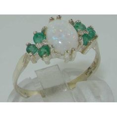 Ladies Contemporary Solid Sterling Silver Natural Opal & Emerald Ring - Finger Sizes 5 to 12 Available: Right Hand Rings: Jewelry