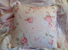 Shabby Pillow cover, newly made with a vintage or retired, Mary Rose fabric.    Measures: 18 x 18    Colors:soft peachy pink background with