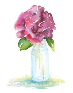 Rose in a Glass Vase Watercolor – Susan Windsor