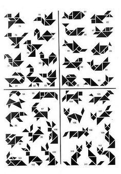 Style: tangram, like origami but Tangram Puzzles, Logic Puzzles, Iq Puzzle, Handmade Gift Tags, Brain Teasers, Math Games, Maths, Geometric Designs, Pattern Blocks