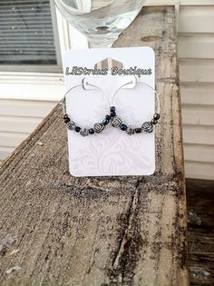 Silver and Dark Faceted Hoop Earrings Nickel by LilStrausBoutique Sterling Silver Hoops, Silver Hoop Earrings, Faceted Glass, Glass Beads, Handmade Items, Handmade Jewelry, March Madness, Small Shops, Unique Gifts