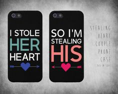 Cute Matching Stealing Heart Couple iphone 4 4S / 5 Case Set on Etsy, $14.99