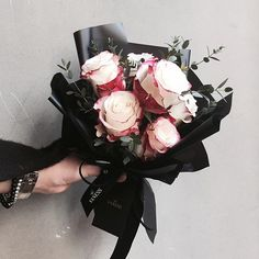 White with Pink Edge Rose Bouquet Wrapped With Black Paper