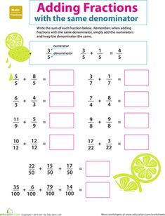 Take your third grader's addition knowledge one step further with this introduction to fractions. Suma de fracciones con el mismo denominador.