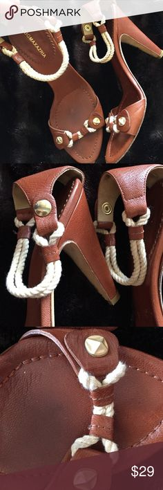 BCBGMaxazria Nautical ⚓️Leather & Rope Open Heels Amazing and stylish and fun and sexy and cool!!! 🚤⚓️ gorgeous brown leather with gold accents and cream ropes with secret snaps. Perfect size heels bc there sexy but not too high so there uncomfortable. Used and worn visibly by the back heel and tiny mark in front but still amazing and when worn won't be noticeable. BCBGMaxAzria Shoes Heels
