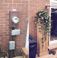 Like the idea, not the execution Ugly Hydro/Cable/Bell box? Backyard Projects, Outdoor Projects, Backyard Patio, Backyard Landscaping, Home Projects, Backyard Ideas, Balcony Ideas, Electric Box, Outdoor Living