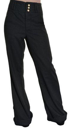 Mae Dress Pants Womens Wide Leg 2 High Waste Grey Pinstripe Cuffed Trouser NWOT #Mae #DressPants