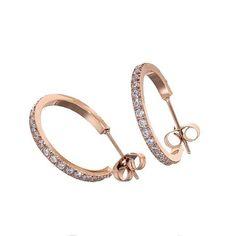 Ingnell Jewelllery - Klara creol small rose/clear. Stainless steel. www.ingnelljewellery.com