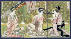 Courtesans Hashidate, Ayakshi and Hanabito by Chokosai Eisho, 1790s