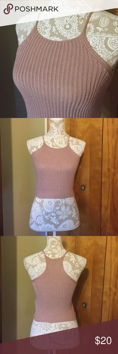 Brandy Melville blush pink knit crop top Worn once and washed. Still soft and like new. One size fits most. I'm also selling this exact top on charcoal gray. Brandy Melville Tops