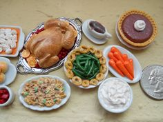 Miniature Thanks Giving Meals by ItsATinyWorld on Etsy