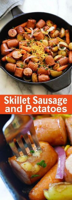 Skillet Sausage and Potatoes - easy and quick smoked sausages with potatoes and carrots on a skillet. Perfect for weekend camping trips Sausage Recipes, Pork Recipes, Cooking Recipes, Healthy Recipes, Skillet Recipes, Delicious Recipes, Bratwurst, One Pot Meals, Main Meals