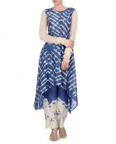 KRISHNA MEHTA: Indigo Tie and Dye Kurta Set