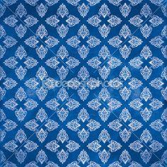 Damask seamless pattern, Damaged Blue — Stock Photo © dadartdesign #28600719