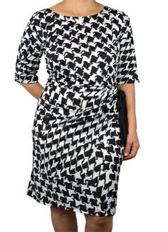 Plus Size Mod Print Crochet Blouson Dress | Plus Size Day & Casual ...