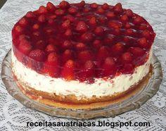 RECEITAS AUSTRÍACAS E ALEMÃS - DOCES: TORTA ESPELHADA DE MORANGOS ou MIRTILOS - Heidelbeer - Schmand – Torte