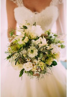 White summer flower wedding bouquet with grasses and seed heads by www.wildandwondrousflowers.co.uk