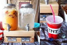 Minecraft Party Drinks - Lava Punch and water in TNT wrapped cups