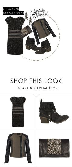 """ALLSAINTS SPITALFIELDS : Satisfaction Guaranteed"" by latoyacl ❤ liked on Polyvore featuring AllSaints, metallics, drop earrings, sequined dresses, buckle ankle boots, ankle boots, shirt dresses, sequins, sheer and buckle boots"