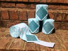 Custom set of 4 Teal and White Stripe with Teal by thebarncloset