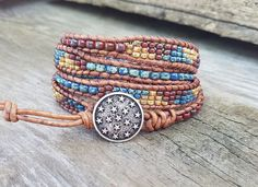 Leather Wrap Bracelet For Women , Beaded Wrap Bracelet, Leather Wrap Bracelet, Womens Leather Bracelet, Mens Leather Wrap Bracelet by hodgepodgecandles on Etsy