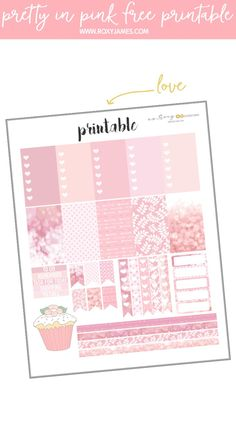 This Pretty in Pink printable is totally FREE! Have fun planning. #happyplanner #freehappyplannerstickers #freeprintables #freestickerprintables #pinkstickers #pinkprintables #planning #free #planwithroxy #plannerprintables