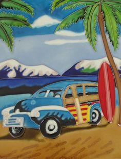 Decorative Wall Tiles, Ceramic Wall Art, Ceramic Decor, Tile Art, Surf Boards, Palm Trees, Surfing, Ceramics, Amazon