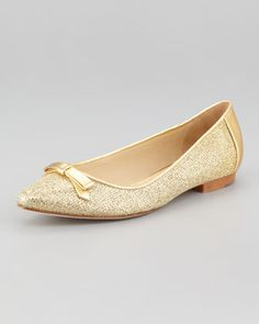 Sparkly flats! (essa metallic flat, gold by kate spade new york at Neiman Marcus)