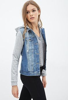 Denim Jacket Hoodie- my kinda style! Check out for more stuff at ...