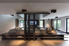 Sofa tables to designate room separation.