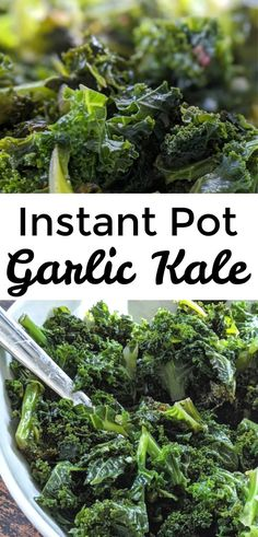 This is a delicious and easy Instant Pot Kale recipe. It features garlic and red pepper flakes. It is an easy Instant Pot side dish, and it's a great way to steam kale. Cooked Kale Recipes, Veggie Recipes, Easy Kale Recipes, Ninja Recipes, Vegetarian Recipes, Kale Vegetable, Vegetable Dishes, Instant Pot Steam, Kitchens