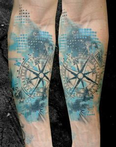 Compass is a navigational instrument to determine the direction of magnetic north. Compass tattoo designs, also known as nautical tattoos are usually inked in many stylish ways, like compass and Map Tattoos, Rose Tattoos, Body Art Tattoos, Sleeve Tattoos, Tattoo Quotes, Tattoo Arm, Tatoos, Trendy Tattoos, Unique Tattoos