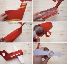 como hacer avion con botellas