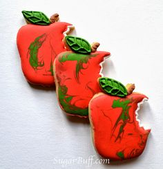 Fall Apples by Sugar Buff via Thanksgiving Baking, Thanksgiving Cookies, Fall Cookies, Inspired By Charm, Spend With Pennies, Apple Decorations, Holiday Cakes, Cake Boss, Cake Shop