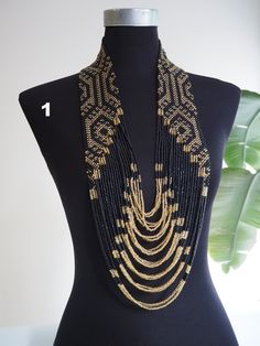 Shop one-of-a-kind modern Filipiniana accessories, jewelry, textiles, art prints and more. African Beads Necklace, Beaded Necklace Patterns, African Jewelry, Beaded Jewelry, Crystal Bead Necklace, Seed Bead Necklace, Masai Jewelry, Shoulder Necklace, Antique Jewellery Designs
