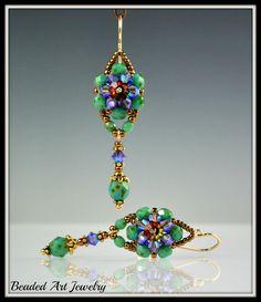 Beaded, Beadwork, Beadwoven Crystal Flower Earrings