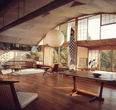 George Nakashima's house, studio and workshop in New Hope, Pensylvania, 1960 #wantinspired #georgenakashima #interior #furniture #newhope #nakashima #design #woodwork