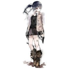 Anime pictureoriginal akaki aoki long hair single tall image looking... ❤ liked on Polyvore featuring anime