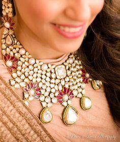 Indian Wedding Jewelry - Beautiful Polki Necklace with Ruby Flowers and Pearls WedMeGood Bridal Necklace, Necklace Set, Bridal Jewelry, Pearl Necklace Designs, Indian Wedding Jewelry, Indian Bridal, Sabyasachi, Lehenga, Emerald Jewelry