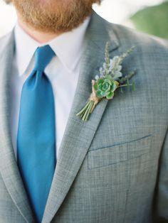 A succulent eucalyptus lavender and dusty miller leaf are cinched together with twine to make this handsome boutonniere. Design by Lauryl Lane. Woodsy Wedding, Floral Wedding, Fall Wedding, Wedding Bouquets, Wedding Flowers, Wedding Ideas, Diy Wedding, Cactus Wedding, Loft Wedding